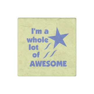 A Lot of Awesome - Yellow Background Stone Magnet