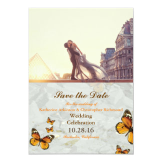 A lover couple in front of Louvre/butterfly 13 Cm X 18 Cm Invitation Card