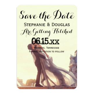 A lover couple in front of Louvre/Save The Date 13 Cm X 18 Cm Invitation Card