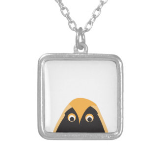 A Lucky OWL Greeting Square Pendant Necklace
