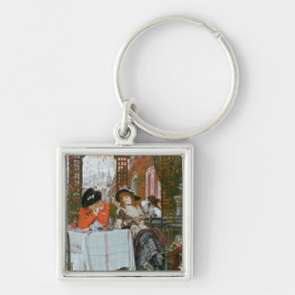A Luncheon , c.1868 Silver-Colored Square Key Ring