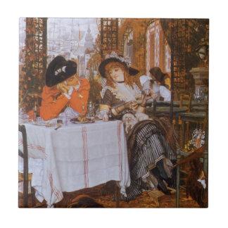 A Luncheon (Petite Dejeuner) by James Tissot Small Square Tile