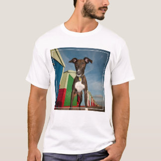 A Lurcher Standing In Front Of Some Beach Huts T-Shirt