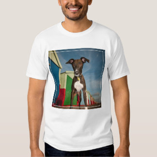 A Lurcher Standing In Front Of Some Beach Huts T-shirts