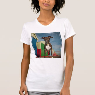 A Lurcher Standing In Front Of Some Beach Huts Tees