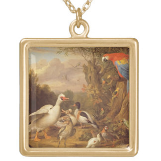A Macaw, Ducks, Parrots and Other Birds in a Lands Gold Plated Necklace