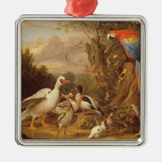 A Macaw, Ducks, Parrots and Other Birds in a Lands Silver-Colored Square Decoration