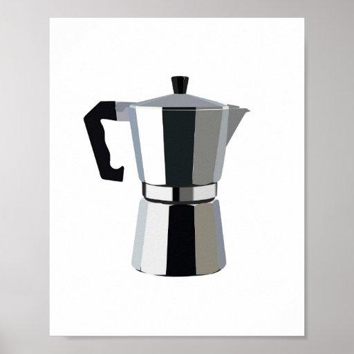 A macchinetta illustration Italian espresso coffee Poster