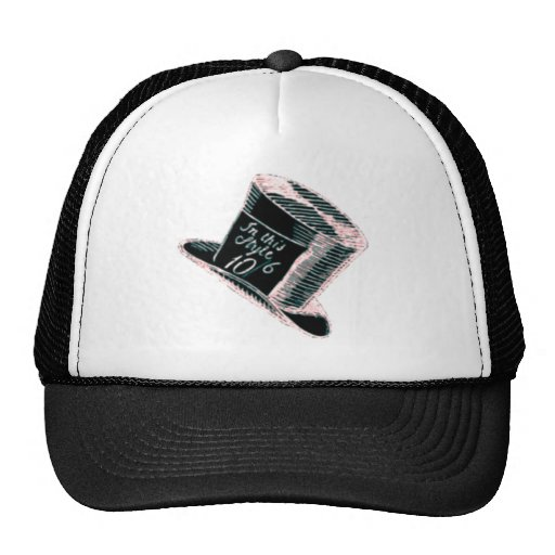 A Mad Hatter Hat in Black with Pink Tint