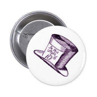 A Mad Hatter Hat with Purple Tint 6 Cm Round Badge