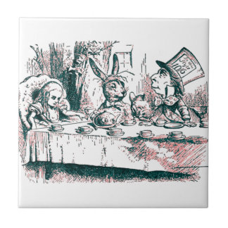 A Mad Tea Party Tenniel Pink Tint Small Square Tile
