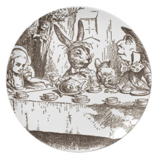 A Mad Tea Party Tenniel Sepia Plate