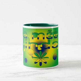 A Mãe Linda Brazil Flag Colors Pop Art Two-Tone Mug