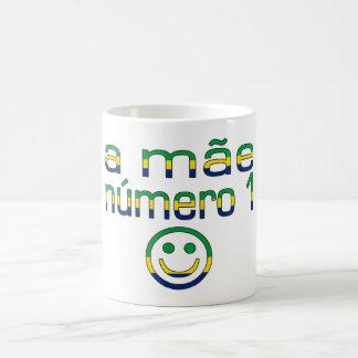 A Mãe Número 1 - Number 1 Mom in Brazilian Basic White Mug