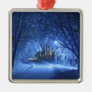 A Magical Snowy Road. Christmas Ornament