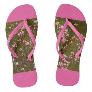 a magnolia tree blooming on custom slim straps flip flops