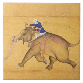 A Mahout riding an Elephant, from the Large Clive Tile