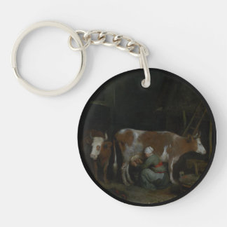 A Maid Milking a Cow in a Barn Single-Sided Round Acrylic Key Ring