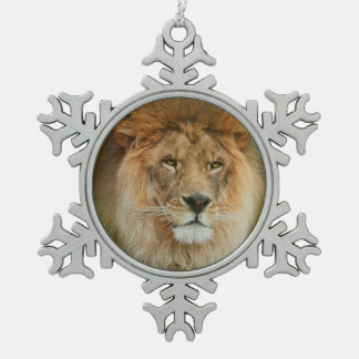 A Majestic lion Pewter Snowflake Decoration