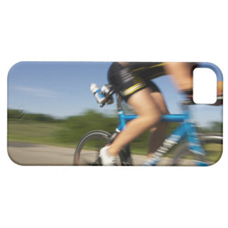 A male athelete training for a triathlon at a barely there iPhone 5 case