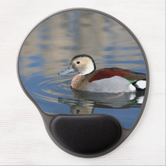 A Male Blue Billed Ringed Teal Swims in a pond Gel Mousepad