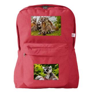 a male lemur hugs his female on American backpack