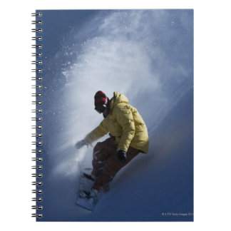 A male snowboarder catches last light on a notebooks