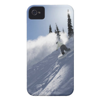 A male snowboarder ripping powder in Idaho. iPhone 4 Cases