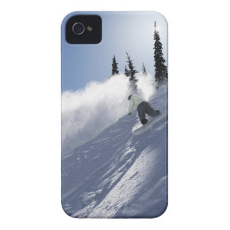 A male snowboarder ripping powder in Idaho. iPhone 4 Case-Mate Cases