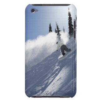 A male snowboarder ripping powder in Idaho. iPod Case-Mate Case