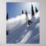 A male snowboarder ripping powder in Idaho. Print