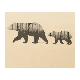 A Mama Bear with Her Cub in the Forest Wood Art