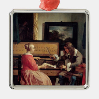 A Man and a Woman Seated by a Virginal, c.1665 Christmas Ornament