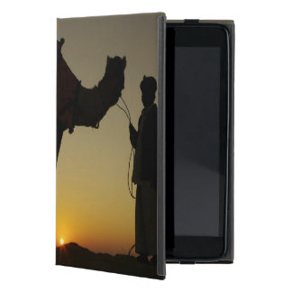 a man and his camel Silhouetted at sunset on the iPad Mini Case