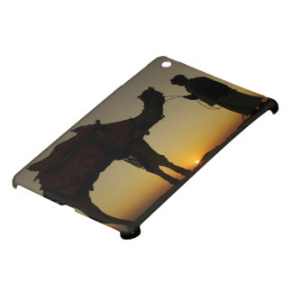 a man and his camel Silhouetted at sunset on the iPad Mini Covers