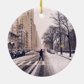 A Man Crossing A Snowy Central Park West Christmas Ornament
