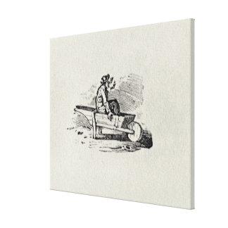 A Man in a Wheelbarrow Canvas Print