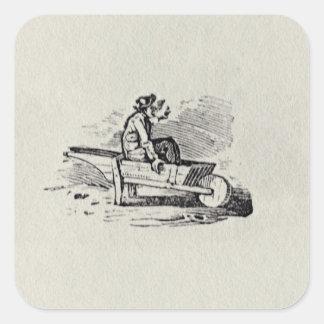 A Man in a Wheelbarrow Square Sticker