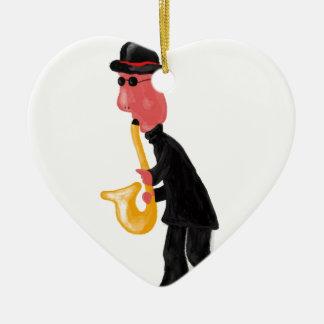A man playing saxophone ceramic heart decoration