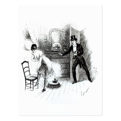 A man visiting a prostitute post cards