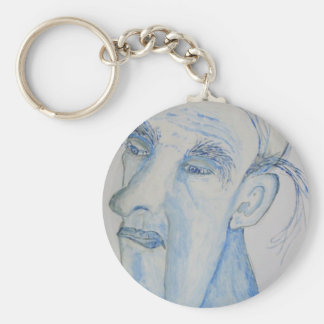 A Man With A Lot On His Mind Basic Round Button Key Ring