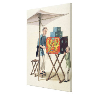 A Man with a Raree-Show, plate 10 from 'The Costum Stretched Canvas Print