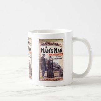 A Man's Man Vintage Book Cover Basic White Mug