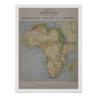A Map of Africa to Illustrate the Travels of David Poster
