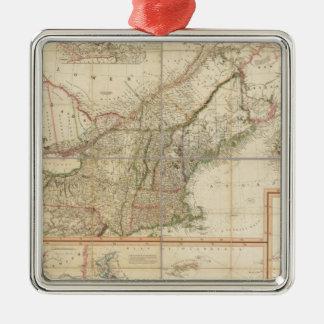 A Map of Cabotia Silver-Colored Square Decoration