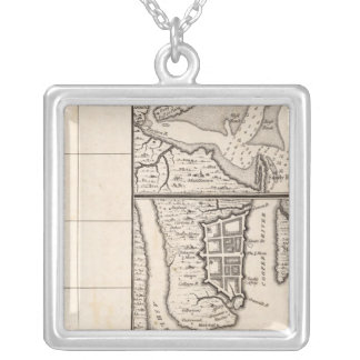 A Map of the British Empire in America Sheet 12 Silver Plated Necklace