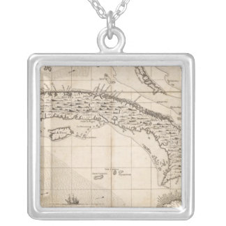 A Map of the British Empire in America Sheet 14 Silver Plated Necklace