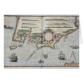 A Map of the coastline of Brittany, 1588 Card