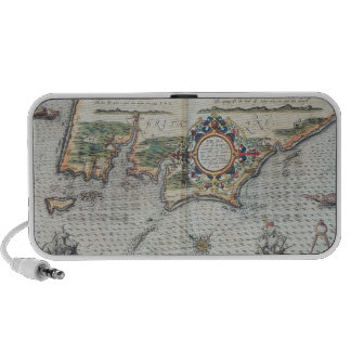 A Map of the coastline of Brittany, 1588 Laptop Speakers