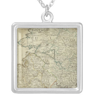A map of the Kingdom of Ireland Northern section Silver Plated Necklace